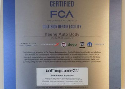 Fiat Chrysler Certified FCA Collision Repair Facility