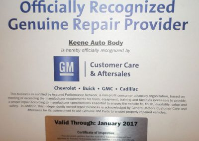 GM Officially Recognized Genuine Repair Provider